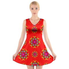 Rainbow Colors Geometric Circles Seamless Pattern On Red Background V Neck Sleeveless Skater Dress