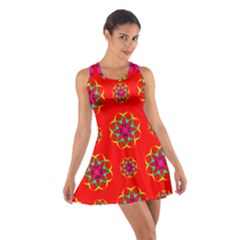 Rainbow Colors Geometric Circles Seamless Pattern On Red Background Cotton Racerback Dress