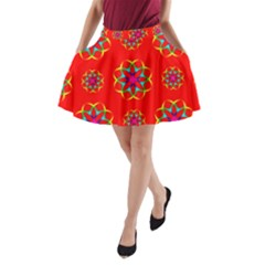 Rainbow Colors Geometric Circles Seamless Pattern On Red Background A-Line Pocket Skirt