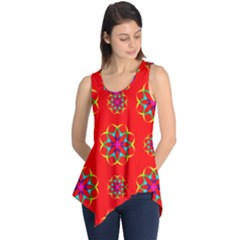Rainbow Colors Geometric Circles Seamless Pattern On Red Background Sleeveless Tunic