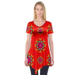 Rainbow Colors Geometric Circles Seamless Pattern On Red Background Short Sleeve Tunic
