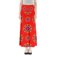 Rainbow Colors Geometric Circles Seamless Pattern On Red Background Maxi Skirts