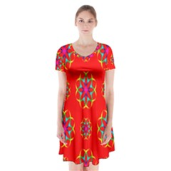 Rainbow Colors Geometric Circles Seamless Pattern On Red Background Short Sleeve V-neck Flare Dress