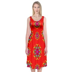 Rainbow Colors Geometric Circles Seamless Pattern On Red Background Midi Sleeveless Dress