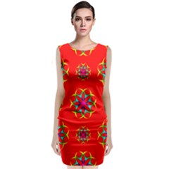 Rainbow Colors Geometric Circles Seamless Pattern On Red Background Classic Sleeveless Midi Dress