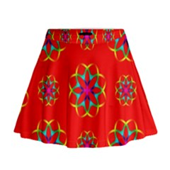 Rainbow Colors Geometric Circles Seamless Pattern On Red Background Mini Flare Skirt