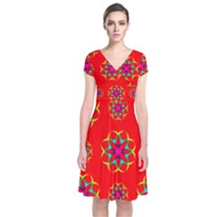 Rainbow Colors Geometric Circles Seamless Pattern On Red Background Short Sleeve Front Wrap Dress