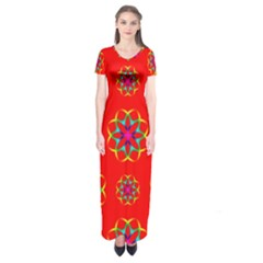 Rainbow Colors Geometric Circles Seamless Pattern On Red Background Short Sleeve Maxi Dress