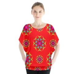 Rainbow Colors Geometric Circles Seamless Pattern On Red Background Blouse