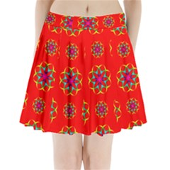 Rainbow Colors Geometric Circles Seamless Pattern On Red Background Pleated Mini Skirt