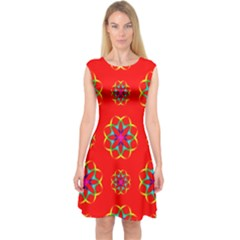 Rainbow Colors Geometric Circles Seamless Pattern On Red Background Capsleeve Midi Dress