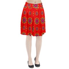 Rainbow Colors Geometric Circles Seamless Pattern On Red Background Pleated Skirt