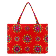 Rainbow Colors Geometric Circles Seamless Pattern On Red Background Medium Tote Bag