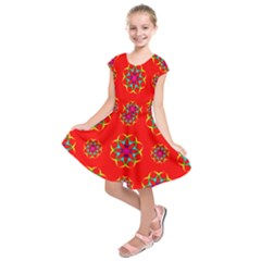 Rainbow Colors Geometric Circles Seamless Pattern On Red Background Kids  Short Sleeve Dress
