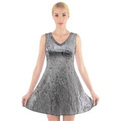 Water Drops V Neck Sleeveless Skater Dress