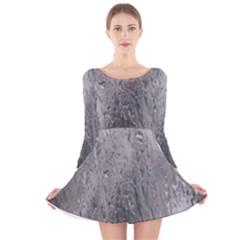 Water Drops Long Sleeve Velvet Skater Dress