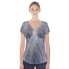 Water Drops Short Sleeve Front Detail Top