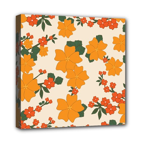 Vintage Floral Wallpaper Background In Shades Of Orange Mini Canvas 8  x 8