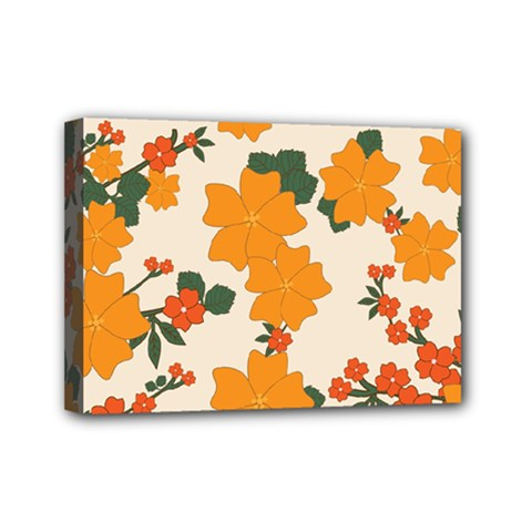 Vintage Floral Wallpaper Background In Shades Of Orange Mini Canvas 7  X 5