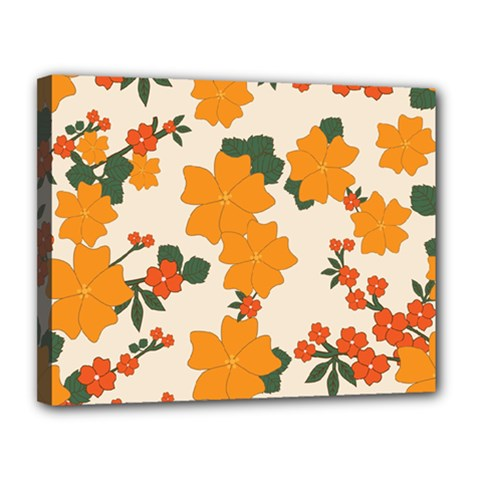 Vintage Floral Wallpaper Background In Shades Of Orange Canvas 14  X 11