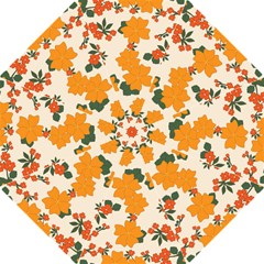 Vintage Floral Wallpaper Background In Shades Of Orange Straight Umbrellas