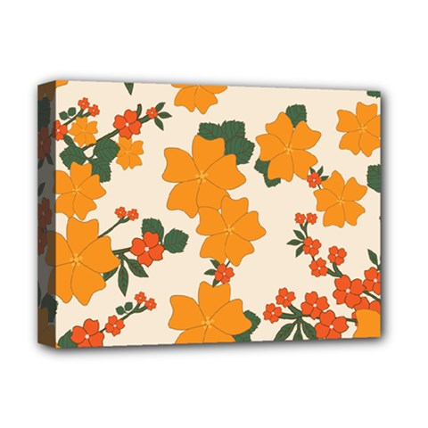 Vintage Floral Wallpaper Background In Shades Of Orange Deluxe Canvas 16  x 12