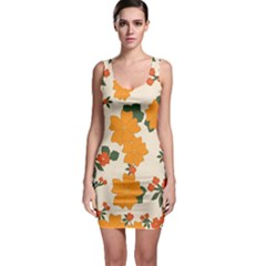 Vintage Floral Wallpaper Background In Shades Of Orange Sleeveless Bodycon Dress