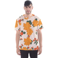 Vintage Floral Wallpaper Background In Shades Of Orange Men s Sport Mesh Tee