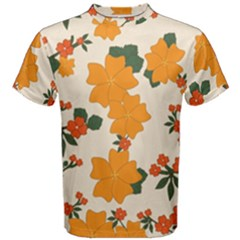 Vintage Floral Wallpaper Background In Shades Of Orange Men s Cotton Tee