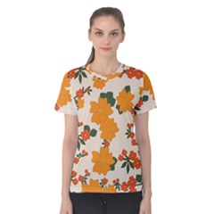 Vintage Floral Wallpaper Background In Shades Of Orange Women s Cotton Tee