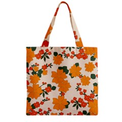 Vintage Floral Wallpaper Background In Shades Of Orange Grocery Tote Bag