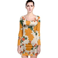 Vintage Floral Wallpaper Background In Shades Of Orange Long Sleeve Bodycon Dress