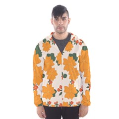 Vintage Floral Wallpaper Background In Shades Of Orange Hooded Wind Breaker (Men)