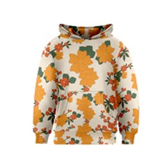 Vintage Floral Wallpaper Background In Shades Of Orange Kids  Pullover Hoodie
