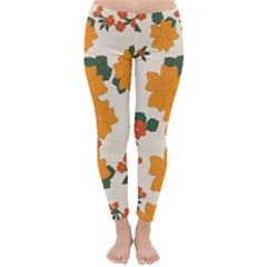 Vintage Floral Wallpaper Background In Shades Of Orange Classic Winter Leggings