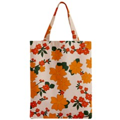Vintage Floral Wallpaper Background In Shades Of Orange Zipper Classic Tote Bag