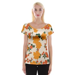 Vintage Floral Wallpaper Background In Shades Of Orange Women s Cap Sleeve Top