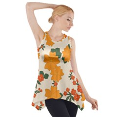 Vintage Floral Wallpaper Background In Shades Of Orange Side Drop Tank Tunic