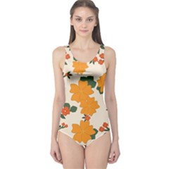 Vintage Floral Wallpaper Background In Shades Of Orange One Piece Swimsuit