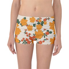 Vintage Floral Wallpaper Background In Shades Of Orange Reversible Bikini Bottoms