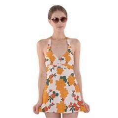 Vintage Floral Wallpaper Background In Shades Of Orange Halter Swimsuit Dress