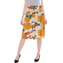 Vintage Floral Wallpaper Background In Shades Of Orange Midi Beach Skirt