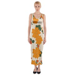 Vintage Floral Wallpaper Background In Shades Of Orange Fitted Maxi Dress