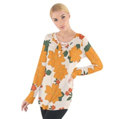 Vintage Floral Wallpaper Background In Shades Of Orange Women s Tie Up Tee