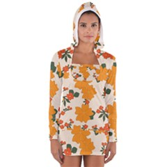 Vintage Floral Wallpaper Background In Shades Of Orange Women s Long Sleeve Hooded T-shirt
