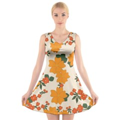 Vintage Floral Wallpaper Background In Shades Of Orange V Neck Sleeveless Skater Dress
