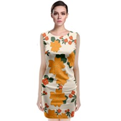 Vintage Floral Wallpaper Background In Shades Of Orange Classic Sleeveless Midi Dress