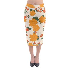 Vintage Floral Wallpaper Background In Shades Of Orange Midi Pencil Skirt