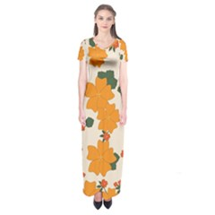 Vintage Floral Wallpaper Background In Shades Of Orange Short Sleeve Maxi Dress