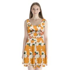 Vintage Floral Wallpaper Background In Shades Of Orange Split Back Mini Dress